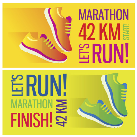 Jogging and running marathon concept flat icon with sneakers