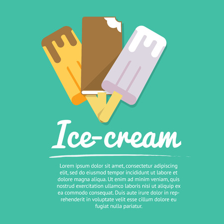 sorbet: Collection of three ice-creams in choclate, vector images