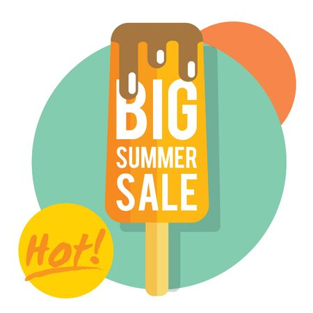 thawing: Template for summer sale with ice-cream. Refreshing in summertime. Prices are thawing Illustration