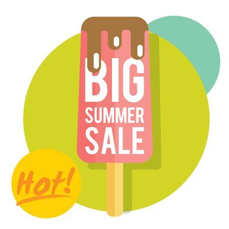 estate: Modello per la vendita estate con gelato. Rinfrescante in estate. I prezzi sono scongelando
