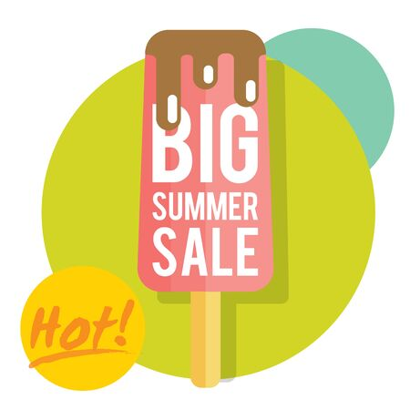 Template for summer sale with ice-cream. Refreshing in summertime. Prices are thawing Illustration