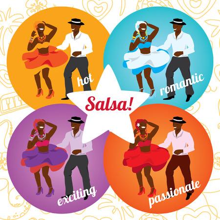 cubana: Fiesta de la salsa o la danza cartel de la escuela con el baile pareja cubana en diferentes colores. Vectores