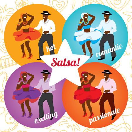 Salsa party or dance school poster with dancing cuban couple in different colors. Stock Illustratie