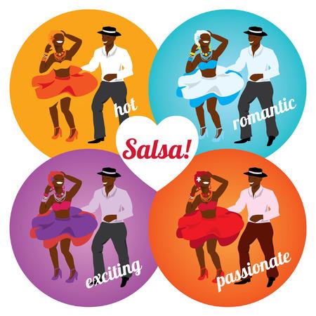 bailarines de salsa: Fiesta de la salsa o la danza cartel de la escuela con el baile pareja cubana en diferentes colores. Vectores