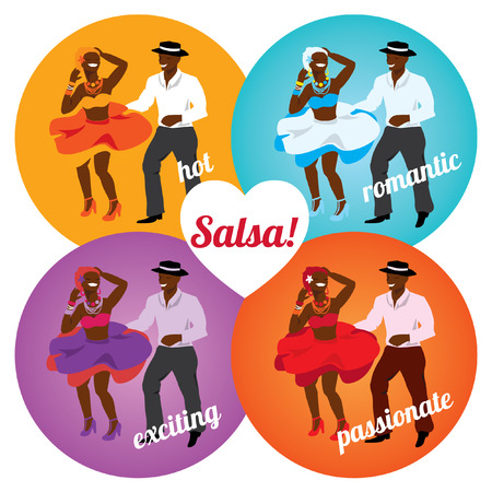 Salsa party or dance school poster with dancing cuban couple in different colors. Illustration