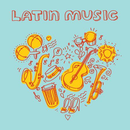 Música salsa y la ilustración de la danza con instrumentos musicales, palmas, etc. Foto de archivo - 40934763