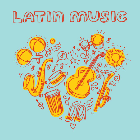 carribean: Salsa music and dance illustration with musical instruments, palms, etc.