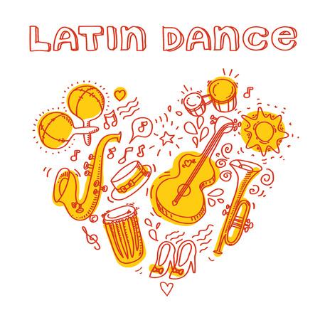 Música salsa y la ilustración de la danza con instrumentos musicales, palmas, etc. Foto de archivo - 40934765