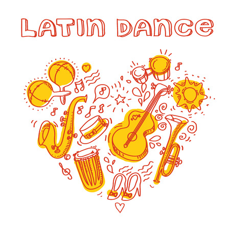 Salsa music and dance illustration with musical instruments, palms, etc.
