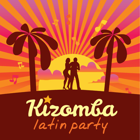 social movement: Kizomba poster for the party. Dancing couple.