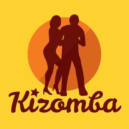 caribbean party: Kizomba poster for the party. Dancing couple.