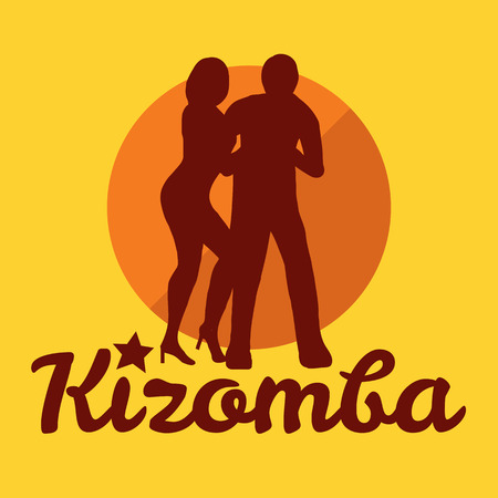 couple beach sunset: Kizomba poster for the party. Dancing couple.