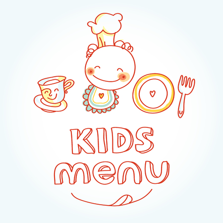 smiling child: Child and baby food, kids menu with colorful smiling fruits, vegetables, sweets, cookies Illustration