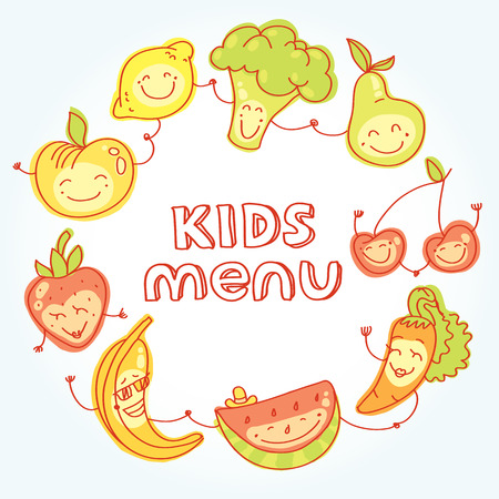 Child and baby food, set of colorful roundelay fruits, vegetables, with smiles.