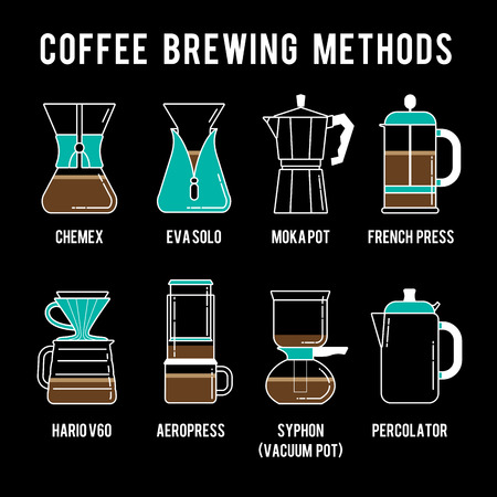 brewing: Detailed stylish modern flat coffee brewing methods illustration and design element.