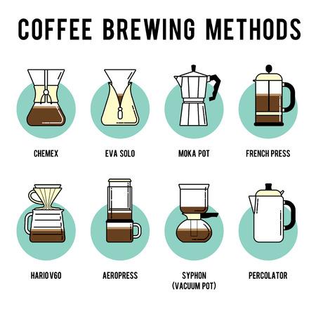 자세한 세련된 현대적인 평면 커피 추출 방법을 그림과 디자인 요소입니다.