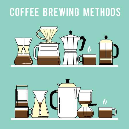 unplug: Detailed stylish modern flat coffee brewing methods illustration and design element.