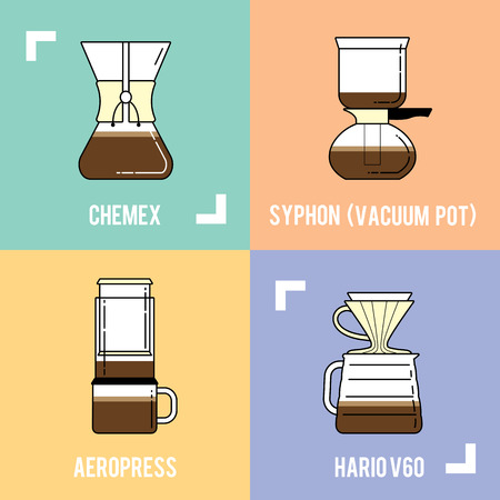 percolator: Detailed stylish modern flat coffee brewing methods illustration and design element.