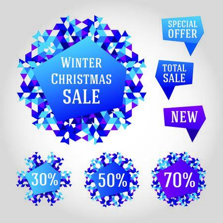 bage: Abstract triangle snowflake. Winter season 2014