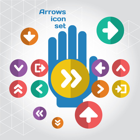 user interface: User interface arrows icon composition set with hand. Layered file