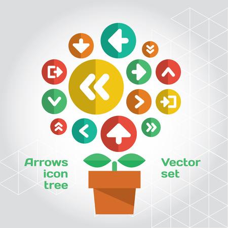 유행: 사용자 인터페이스 아이콘 조성물은 성장 나무처럼 설정합니다. 계층화 된 파일 일러스트