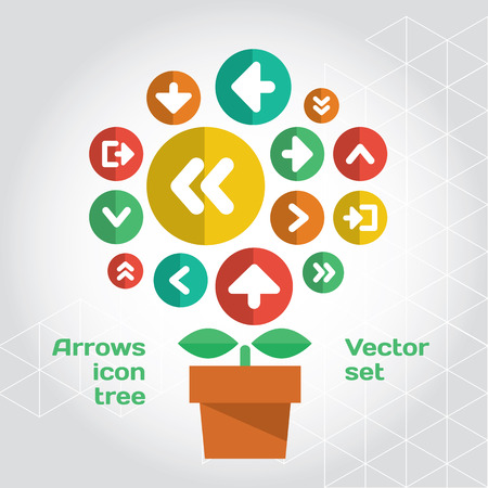 trend: User interface icons composition set like growing tree. Layered file