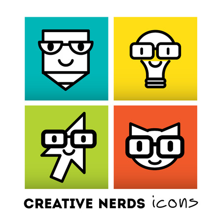 funny glasses: Stylish design element and modern vector illustration Illustration