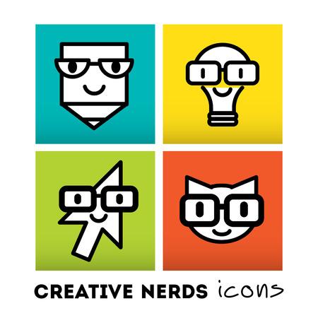 funny glasses: Stylish design element and modern vector illustration Illustration