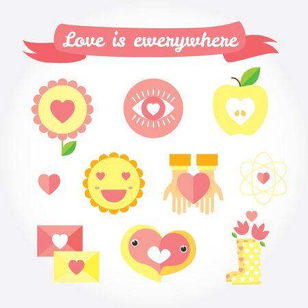 lovebird: Stylish design element icons on white background. Illustration in flat style. Illustration