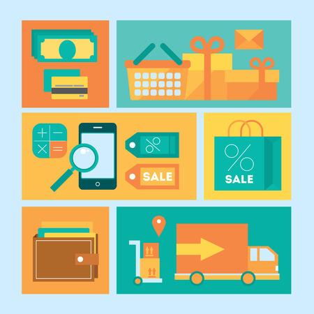 coloured background: Icon set of electronic commerce and shopping isolated symbols and elements. Coloured background Illustration