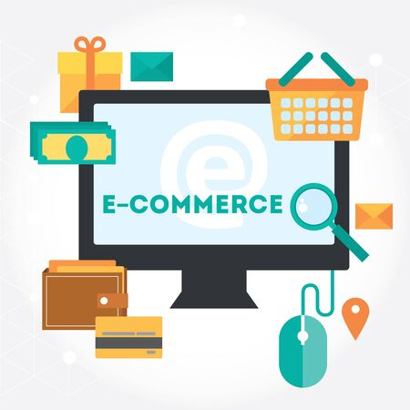 succes: Succes process of electronic commerce and shopping isolated symbols and design elements. White background