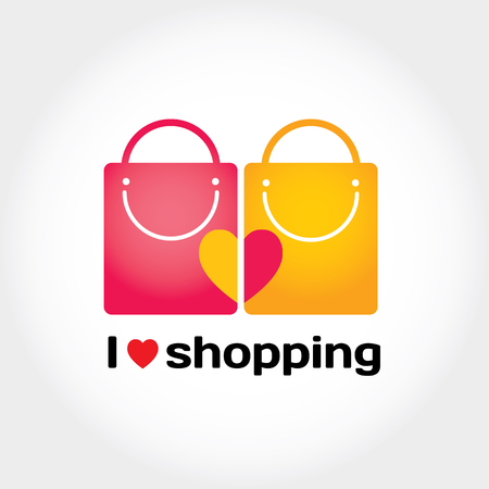 lady shopping: Modern flat vector illustration and stylish design element