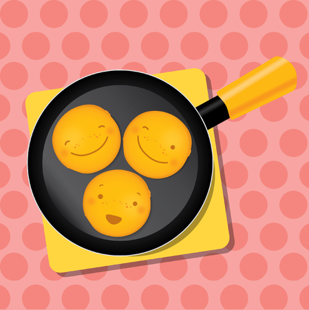 breakfast smiley face: Vector modern illustration and stylish design element
