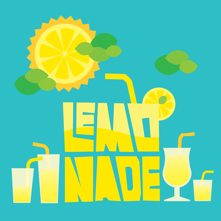 lemonade: Vectorial capas de ilustraci�n de fondo con elementos de dise�o de verano