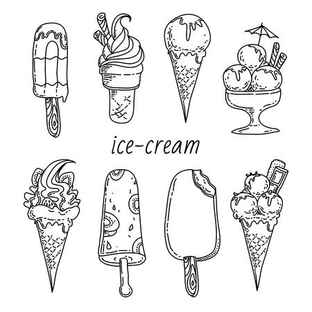 ice cream sundae: illustration background with summer design elements