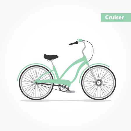 cruiser bike: modern illustration and design element on white background. Illustration