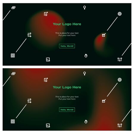 Technology, science and business backgrounds set in dark colors. Gradient space night banners with icons pattern, place for text, logo. Foto de archivo - 136022993