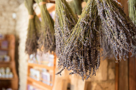 Dried bunches of lavender.