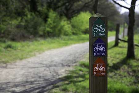 Valley cycling sign,in the park at springtime