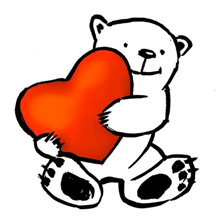 Bear holding a big red heart. Stock Photo - 4351368