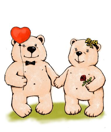 Two bears with heart and rose. Stock Photo - 4351379