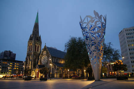 night time: before night time at Cathedral square, Christchurch, New Zealand