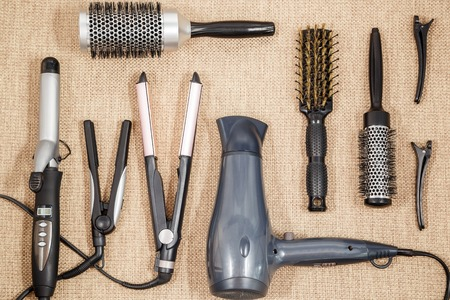 dryer: Professional equipment hairdressing - beauty salon and a hairdresser top view Stock Photo