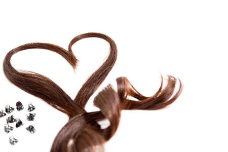 Hair Heart and pins isolated on white Stock Photo
