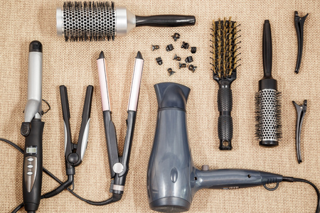 salon background: Professional equipment hairdressing - beauty salon and a hairdresser top view Stock Photo