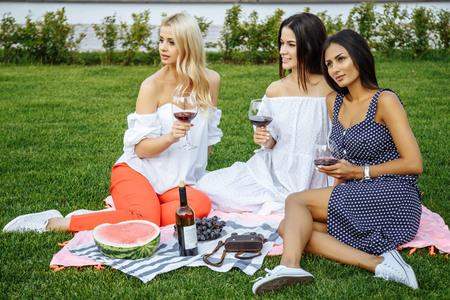 Gruppe glückliche junge Freunde auf Urlaub , der Wein am Picknick genießen Standard-Bild - 93437777