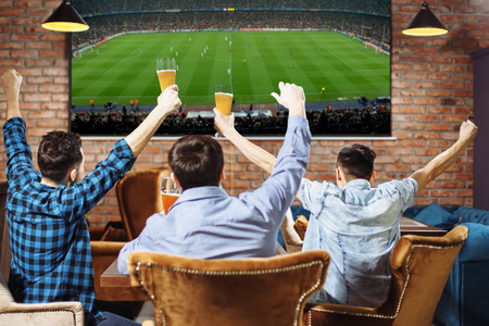 Group of young men cheering on their favorite football team watching the game on TV at the local pub having beer.