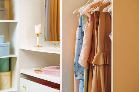 Women's clothing dresses and blouses on hangers in a dressing room or store.