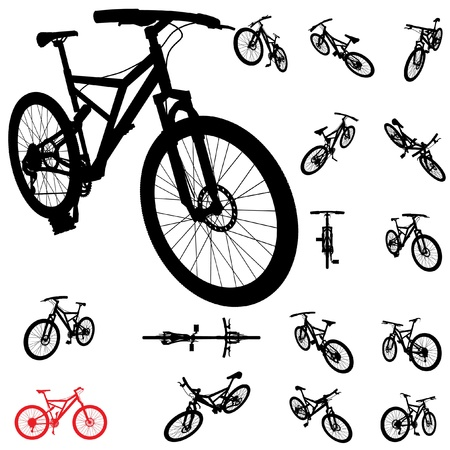 bike wheel: vector bicycle silhouette set