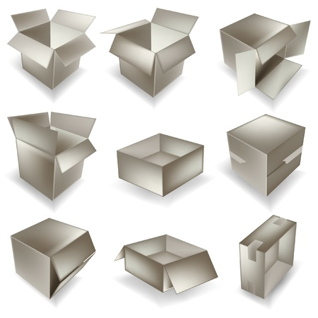 dampness: vector cardboard box set